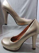 DIBA Women's Closed Toe High Heel Shoes Gold Leather  Mardi 01503 Sz 5.5