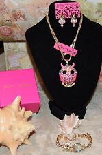 3PC BETSEY JOHNSON GORGEOUS PINK CRYSTAL OWL W/PINK MOVABLE EARRINGS & BRACELET