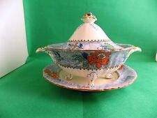 Early Masons Hand Painted Floral Vegetable Tureen and Bowl Pattern C2393