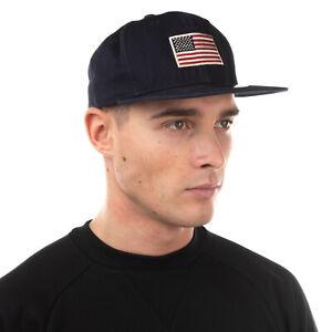 NEW ERA 9FIFYY Baseball Cap Size S/M Embroidered Flag Patch Flat Peak Snapback