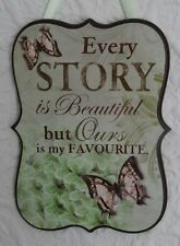 Shabby Chic Wall Wooden Plaque-Every Story Is Beautiful-Green