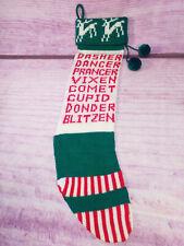 Reindeer Christmas Stocking Kurt Adler Vintage 1979 Knit Handcrafted Pom Poms