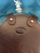 More details for the bridge vintage leather bound  hip flask with drinking cup