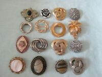 JOB LOT 16 VINTAGE SCARF CLIPS GOLD/SILVER TONE