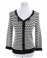 Chico's 0 Sz S 4 Womens Knit Sweater Cardigan Jacket Contrast Black White