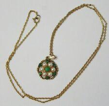".375 Collar De Oro Amarillo 9ct 20"" Cadena Perla Flor Colgante totalmente HM 4g - 232"