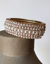 Unsigned Reversible Goldtone Costume Bangle W/ Rhinestones And Faux Pearls