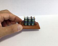 """Luce macro miniature 3 book set in Italian 0.91"""" (2.31cm) tall w/ stand libro"""