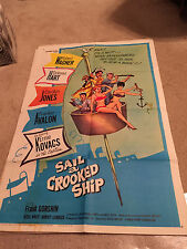 ORIGINAL MOVIE POSTER 27 X 41 FOLDED 1961 SAIL A CROOKED SHIP WAGNER