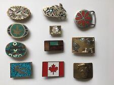 Mixed Lot of 11 Vintage Belt Buckles, Mexico, Canada, Soviet Navy, Marijuana