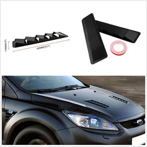 2Pcs Black Window Louvers ABS Plastic Universal Fit For Car Hood Vent Air Cool