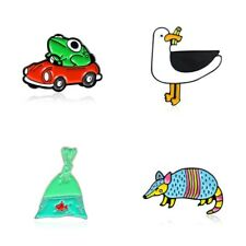 Lovely Animal Brooch Badge Pins Fish Frog Cartoon Cute Foraging Seagull Jewelry