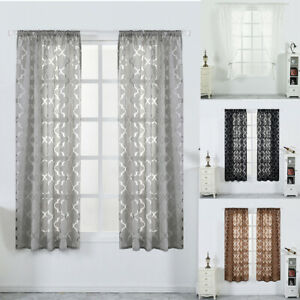 1/2/4 Panels Sheer Voile Tulle Window Screening Curtains Drapes Yarn Home Decor