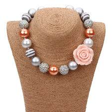 New Gumball Silver Bubblegum Beads Flower Necklace for Little Kid Christmas Gift