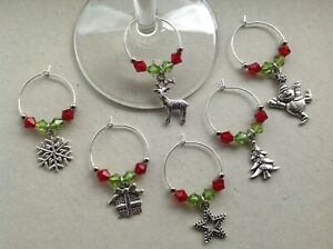 Handmade Set of 6/8/10 Christmas Wine Glass Charms, party, stocking filler.