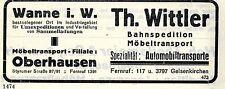 Th.Wittler Wanne i.W. SPEDITION Historische Reklame 1925