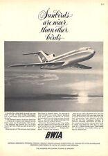 """1964 British West Indian Airways BWIA in the Boeing 727 """"Sunbird"""" PRINT AD"""