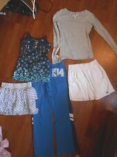 girls justice abercrombie lot 14 16 L shirts tank top polka dot skirt peace CUTE