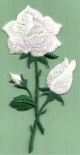 Rose - White - Garden - Flowers - Shimmering Embroidered Iron On Applique Patch