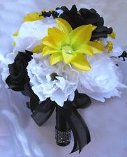 Wedding Bouquet Bridal decoration Silk flower YELLOW BLACK WHITE 17 pcs package
