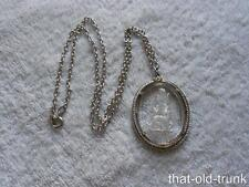 Vintage Avon Goddess Diana Reverse Carved Intaglio Glass Necklace Silver Tone