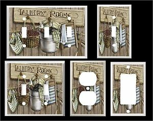 LAUNDRY ROOM WASH BOARD CLOTHES PINS BASKET HOME DECOR  LIGHT SWITCH COVER PLATE