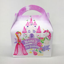 Princess and Unicorns Watercolour Personalised Children Party Boxes Gift Favour