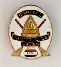 Vtg Capital Winter Curling Club Fredericton New Brunswick Canada Enameled Pin