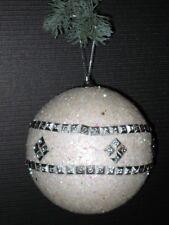 2er Set Bolas de Navidad Decoración para Árbol 11,5 cm en Blanco/Plata Nr.00080