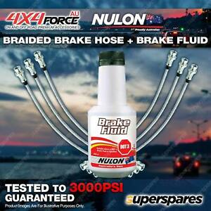 6 F+R Braided Brake Hoses + Nulon Fluid for Nissan Patrol GQ - GU 87-96