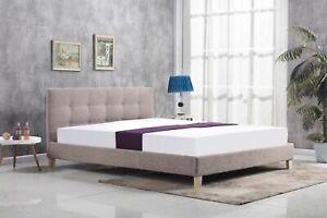 Bergen button mink fabric bed with memory foam mattress - 4ft6, 5ft