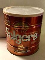 ☕️ Vintage Folgers Coffee Can Tin ⭐ Big Lebowski 39 oz With Lid Rust