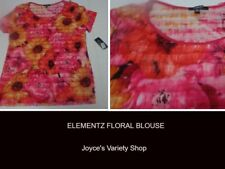Elementz Floral Blouse Top Multi-Color NWT Sz XL