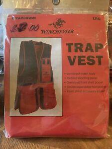 Winchester Red Black Mesh Cotton Trap Skeet Hunting Full Zip Up Vest Sz L