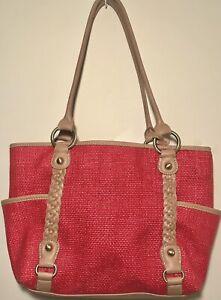 Giani Bernini Red Brown 3 Compartment Tote  Handbag Multiple Pockets