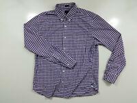 J Crew Mens Size L Casual Long Sleeve Button Up Shirt Purple White Stripe Slim
