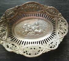 Antique Dutch fretted silver dish