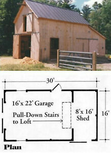 Battenkill Car Barn & Shop with Loft - 3 Complete Sets of Plans (eB-103x3)