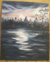 """Oil Painting on Stretched Canvas 24"""" X 30"""" Sunset by Anita """"Nita"""" Anderson MN"""