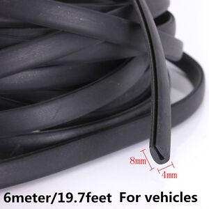 Rubber Strip Black Car Door Edge Moulding Trim Scratch Scuff Protection Strip 6M