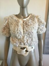 FENDI BONE WHITE RABBIT FUR LEATHER BELTED SHORT SLEEVE SNAP FRONT TOP SMALL