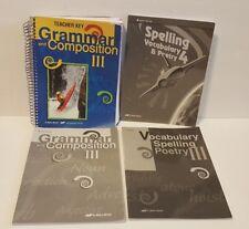 A Beka Grammar Composition III Vocabulary Spelling teacher keys 3rd 4th edition