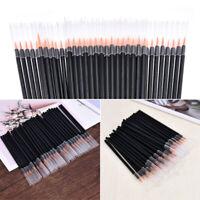 New 50pcs Black Disposable Eyeliner Brushes Applicator Lip Liner Fiber Brushes