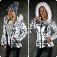 Trendy Steppjacke silber metallic oder schwarz Winterjacke Gr.34-40//42