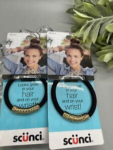Scunci Look Good On Hair And Wrist Super Stretch Black Gold Lot 2 Pack