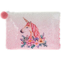 Reversible Sequin Pink Unicorn Purse Girls Clutch Hand Bag Make Up Pouch