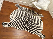 Large Zebra Cowhide Rug Cowskin Cow Hide Leather Carpet 4.9'X4.8' TRICOLOR