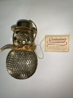 Vtg Gold Wire Net Snowman Candy Container