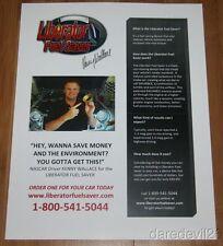 Kenny Wallace Liberator Fuel Saver NASCAR copy paper handout