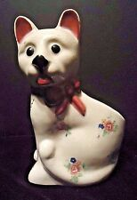 Vintage White Cat Planter with Pink Blue Flowers Occupied Japan 1940s ceramic
